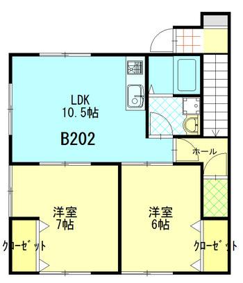 ファミーユ成島 B202 間取図 ※間取り図は現況優先とします。