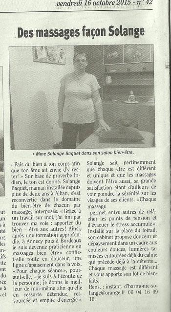 article de La Dépêche sur l'ouverture du cabinet et ma façon de voir le bien-être ; avec une photo de solange dans le cabinet