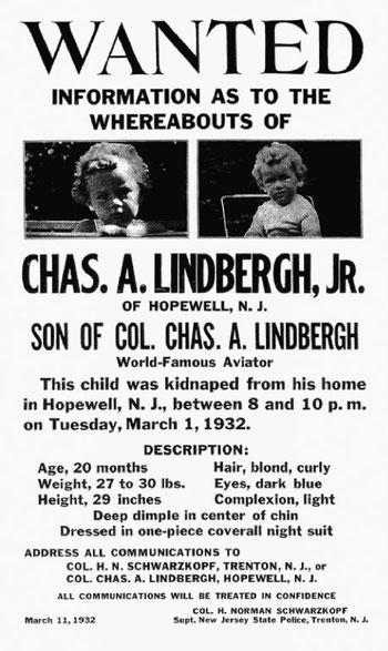 Notizia del rapimento del  figlio del celebre aviatore Lindbergh