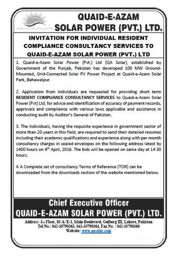 Invitation for Proposal for Individual Resident Compliance Consultancy Services Valid from 19th March till 4th April 2016
