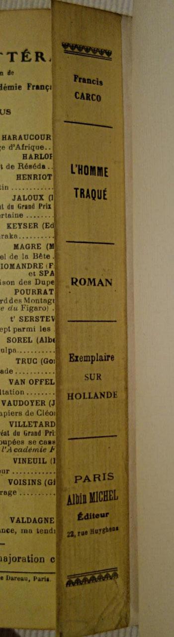 livre rare ancien, édition originale, L'Homme traqué de Francis Carco, dos conservé