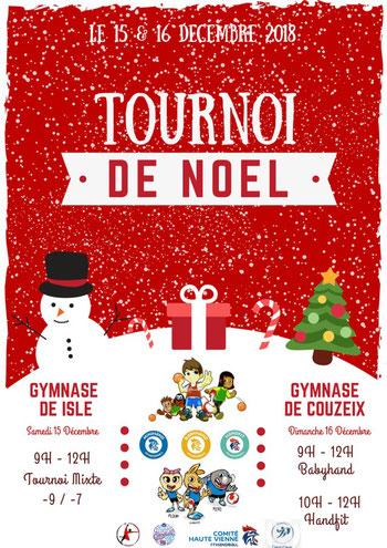 Affiche tournoi handball de Noël 2018