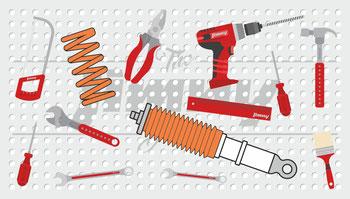 Jimny Fahrwerk Werkzeugwand
