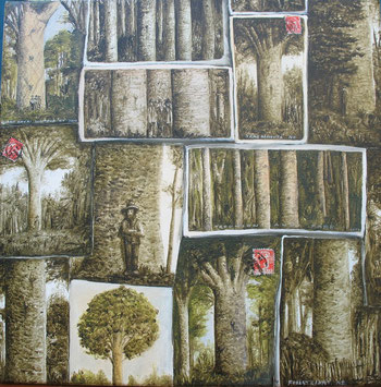 'Kauri postcards' 2014,410 x410mm, oil on canvas.