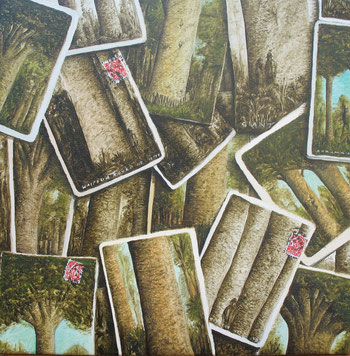 'Kauri postcards II',2014,410 x410mm, oil on canvas.