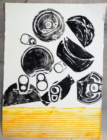 Dietmar Bous, Kunst, Druck, Radierungen, Oldenburg, Künstler, Holzschnitt, Dosen, Deckel
