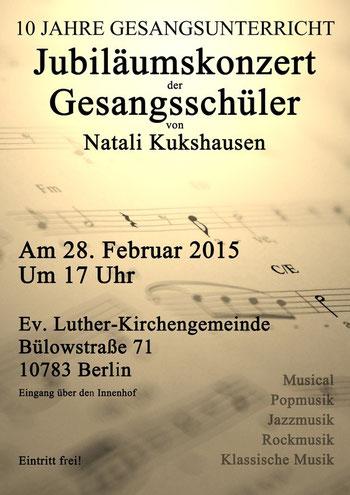 Jubiläumskonzert der Gesangsschüler von Natali Kukshausen vom 28. Februar 2015