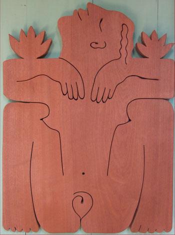 Lotus. Bois exotique 2013. (61x45cm) . 500 €