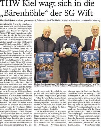 Vorbericht Freundschaftsspiel THW Kiel - SG Wift, Holsteinischer Courier