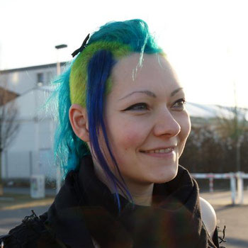 Janina - colourful hair and smiling