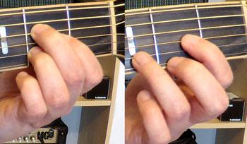 Nahaufnahmen des Griffbretts einer Westerngitarre, die Greifhand greift im ersten Bild den A-Dur und im zweiten Bild den D-Dur-Akkord