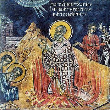 Polycarpe de Smyrne, un chrétien sincère né au premier siècle qui a probablement connu les apôtres, est mort brûlé vif vers 160 sous le règne de Marc Aurèle. Il fait partie des Pères de l'Eglise.