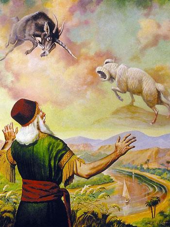 Dans la Bible, les cornes représentent généralement des rois ou des dirigeants. Dans ses visions prophétiques, Daniel voit la succession des puissances mondiales. La grande corne du bouc représente Alexandre le grand qui a vaincu l'Empire médo-perse.