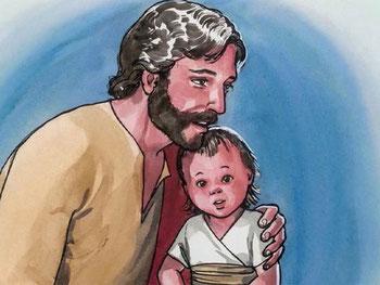 Jésus n'aime pas l'arrogance, alors qu'il constate une certaine rivalité entre ses disciples, il leur explique que celui qui veut être le premier doit se mettre au service des autres. Puis il prend un petit enfant et le place au milieu d'eux.
