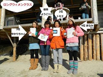写真左から3位 高橋ゆかり・優勝 川上陽子・2位 後夷友絵・4位 土井真奈美