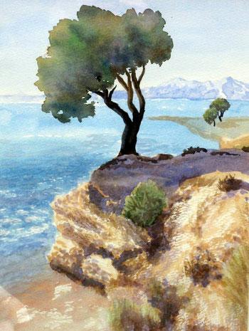 makarska-riviera-kroatien   30 x 40  Aquarell