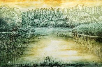 Ätzradierung - Inseln im See // Kupferplatte 19,2 x29,5 // E.A. Zweifarben-Duo-Druck