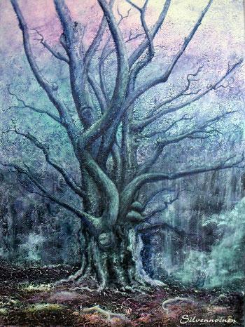 Ölmalerei_Baum_Acryl-Struktur      - Elfenbaum -     60 x 80  Baumwolle