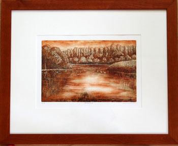 Radierung im Holzrahmen 40 x 50