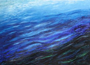 - ELEMENT WASSER -  Schwester Wasser Gelobt seist du, mein Herr durch unsere Schwester, das Wasser, das sehr nützlich ist und demütig, köstlich und keusch.   Aus dem Sonnengesang, Franz von Assisi, Acryl- Ölmalerei