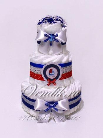 """Купить недорого подарок на рождение мальчику торт из памперсов для мальчика """"Капитану"""""""