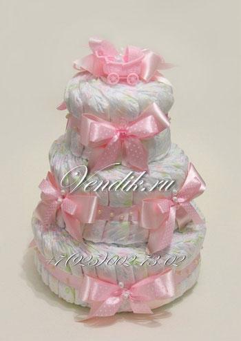 """© Торт из памперсов """"Розовое настроение"""" - подарок для девочки"""