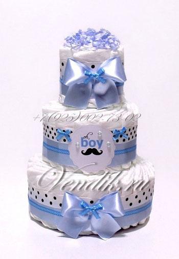 """Подарок на рождение мальчику  торт из памперсов """"Джентельмен"""""""