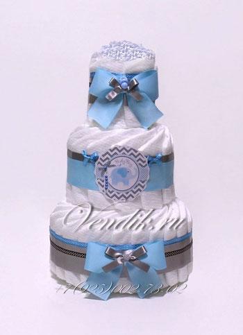 """Подарок на рождение мальчику  Торт из памперсов для мальчика """"Голубой слонёнок"""""""