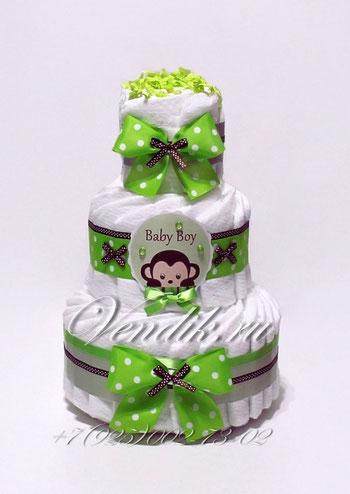 """Подарок на рождение мальчику  Торт из памперсов для мальчика """"Обезьянка"""""""