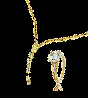 Collier und Ring in Gelbgold mit weissen und gelben Brillanten aus der Himalaja Kollektion, angefertigt auf Kundenwunsch von der Goldschmiede OBSESSION Zürich und Wetzikon