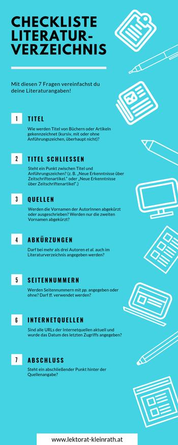 Checkliste Literaturverzeichnis Literaturangaben