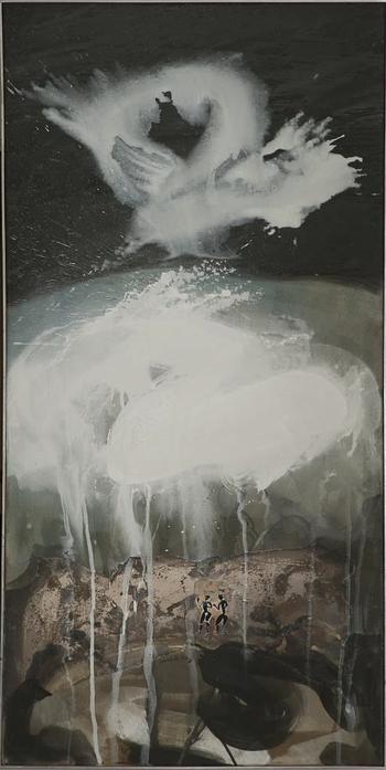 Abschied der weißen Wolke - Acryl auf Leinwand, 2007 (145x70)