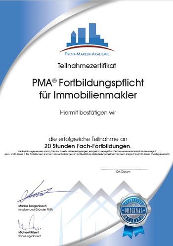 Zertifikat BVFI PMA Fachtraining für Immobilienmakler