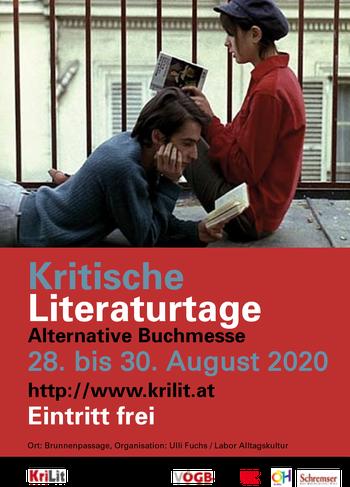 Plakat Kritische Literaturtage - alternative Buchmesse: 28.-30. August 2020, Eintritt frei. krilit.at