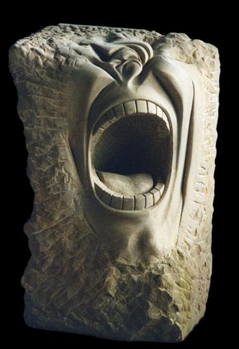 Scream of stone. Der letzte Schrei. Schrei in Stein gemeißelt. zum schreien. Schrei. stummer Schrei aus Stein. stummer Schrei nach...? versteinerter Schrei.