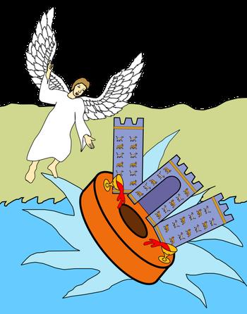 Quand l'ange jette dans la mer cette pierre qui ressemble à une grande meule, il déclare : C'est avec la même violence que Babylone, la grande ville, sera jetée à bas, et on ne la retrouvera plus. Sa disparition sera brutale, rapide, irréversible.
