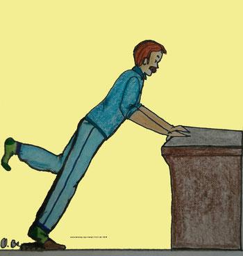 Zeichnung eines Mannes, der an einem Tischstützt und ein Bein nach hinten streckt und das Knie beugt.