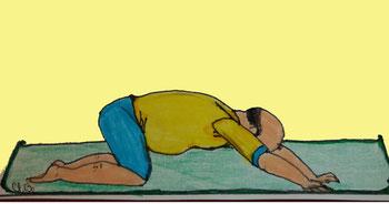Zeichnung eines Mannes, der auf dem Boden kniet und die arme nach vorne auf einer Matte ausstreckt