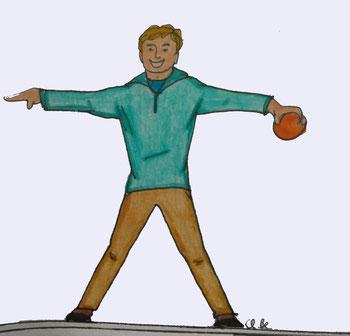 Zeichnung eines Mannes der die Arme ausgestreckt hat und in der linken Hand einen Ball hält