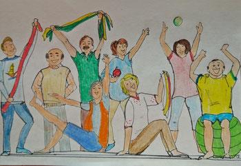 Zeichnugen von 8 verschiedenen Menschen, die Übungen machen und dem Zuschauer zuwinken