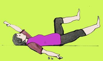 Zeichnung einer Frau, die auf dem Rücken liegt , ein Bein angewinkelt hat und und diagonal das andere Bein und einen Arm zum Boden senkt