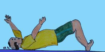 Zeichnung eines Mannes, der auf dem Boden den Rückenangehoben hat (Brücke) und die Arme bewegt.