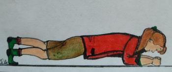 Zeichnung einer Frau, die auf dem Boden auf den Unterarmen stützt und ein Bein leicht anhebt.