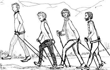 Zeichnung einer 4-köpfigen fröhlichen Nordic Walking Gruppe
