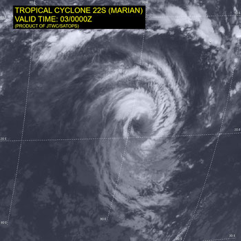 Track map of Tropical Cyclone Mirian. From JTWC, 03/03/2021