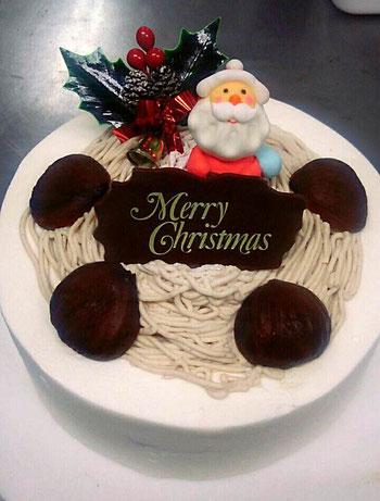 栗のケーキ モンブランケーキ クリスマスケーキ 栗 各務原ケーキ 岐阜ケーキ 栗の丘のサンタさん