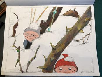 Anja Neimöck 17.1.2021 Schnee und Mainzelmännchen im Garten