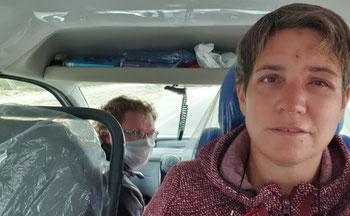 Der Krankenwagen bringt uns nach Sañagosta