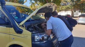 Erste Diagnose in der VW-Garage in Bariloche