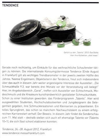 Presseveröffentlichung - Schmuck Magazin - Tendence 2012